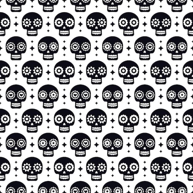 Giorno del modello senza cuciture morto con i crani su fondo bianco. design messicano tradizionale di halloween per la festa di dia de los muertos. ornamento dal messico. Vettore Premium