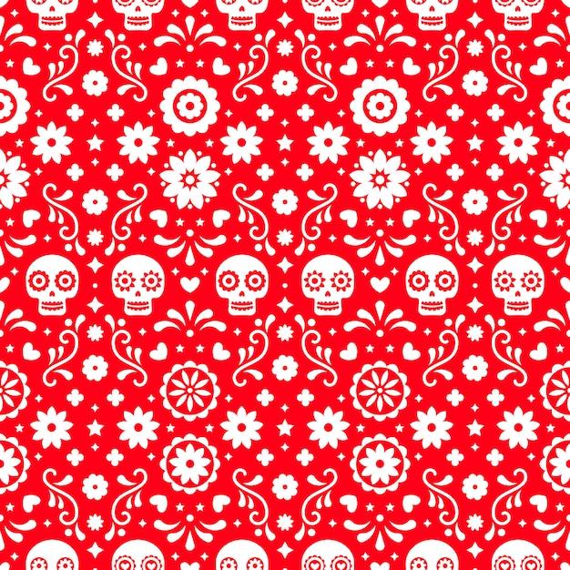 Giorno del modello senza cuciture morto con teschi e fiori su sfondo rosso. design messicano tradizionale di halloween per la festa di dia de los muertos. ornamento dal messico. Vettore Premium