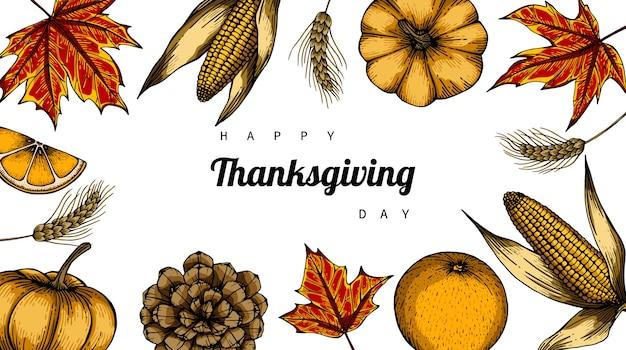 Giorno del ringraziamento sfondo con fiori e foglie Vettore Premium
