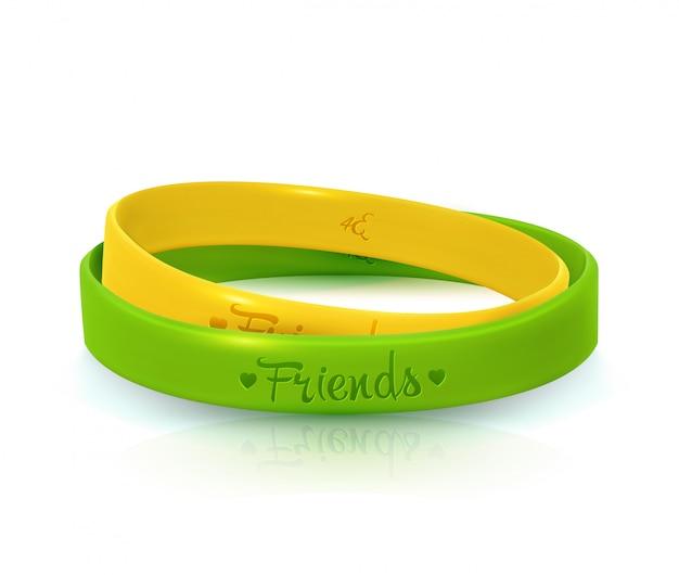 Giorno dell'amicizia. braccialetti di gomma per banda di amici Vettore Premium