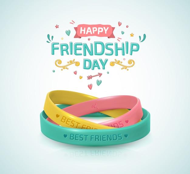 Giorno dell'amicizia. tre bracciali in gomma per cinturino amico Vettore Premium