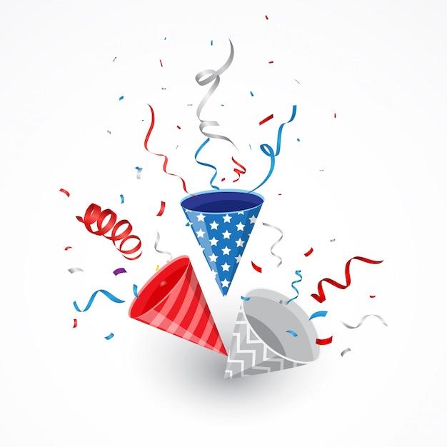 Giorno dell'indipendenza con coriandoli americani e popper party Vettore Premium