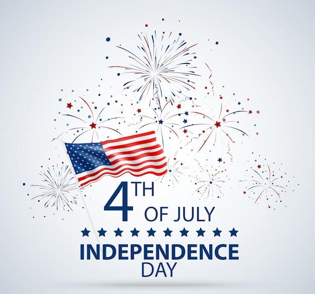 Giorno dell'indipendenza del 4 luglio di celebrazione degli stati uniti Vettore Premium