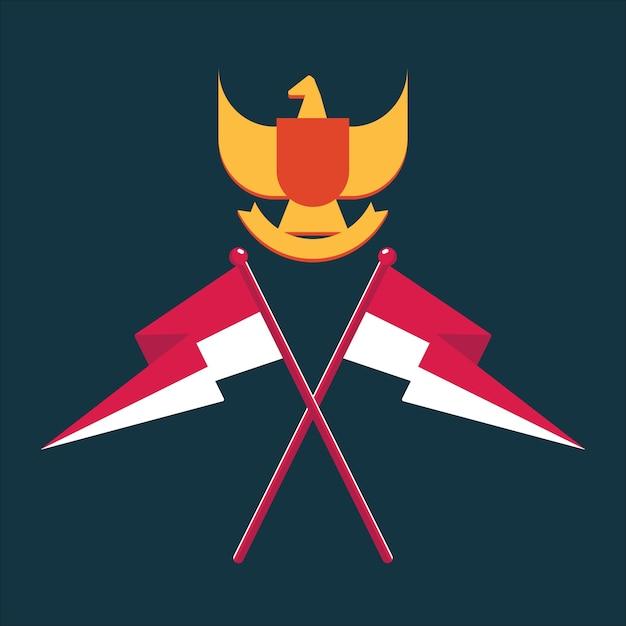 Giorno dell'indipendenza dell'indonesia Vettore Premium