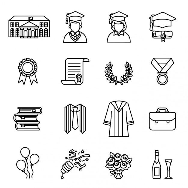 Giorno della laurea. set di icone di educazione universitaria e universitaria. Vettore Premium