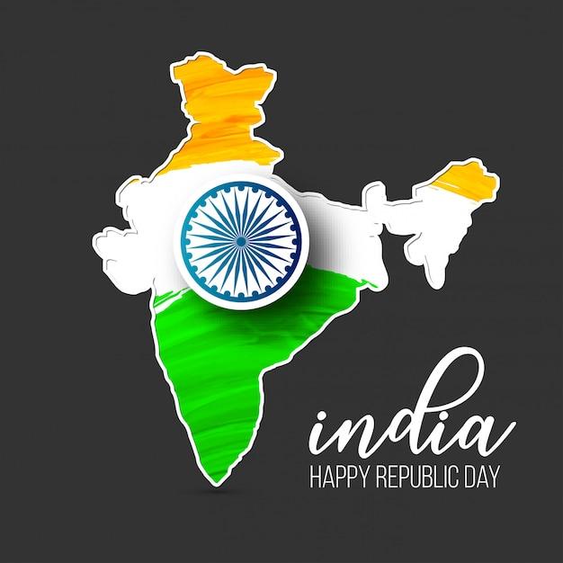 Giorno della repubblica indiana 26 gennaio sfondo Vettore Premium