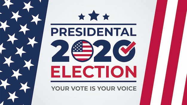 Giorno delle elezioni. vota 2020 negli stati uniti, banner design. dibattito degli stati uniti sul voto del presidente 2020. poster di voto elettorale. campagna elettorale politica Vettore Premium