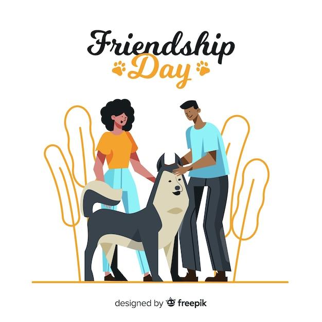 Giorno di amicizia felice disegnato a mano Vettore gratuito