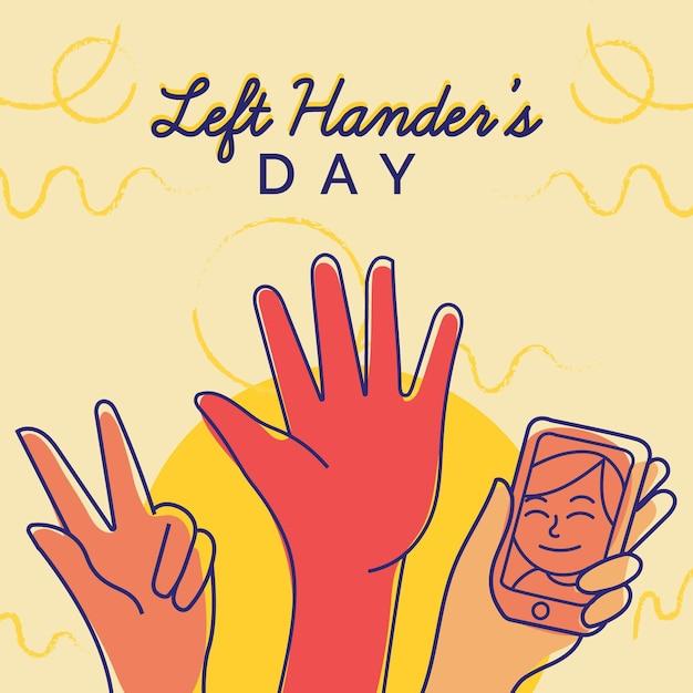 Giorno di mancini disegnati a mano Vettore gratuito