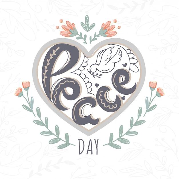 Giorno di pace del testo creativo con la colomba di arte di linea su fondo di forma del cuore decorato floreale Vettore Premium