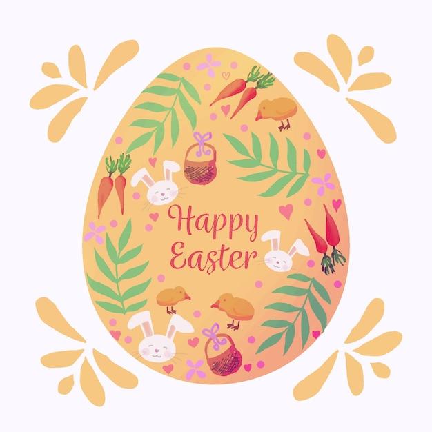 Giorno di pasqua felice di stile dell'acquerello con l'uovo Vettore gratuito