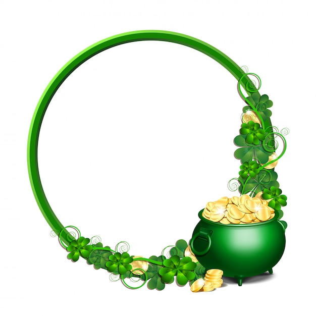 Giorno di patrick tondo cornice verde con vaso pieno di monete d'oro e foglie di trifoglio Vettore Premium