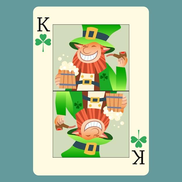 Giorno di san patrizio del leprechaun di re verde della carta da gioco Vettore Premium