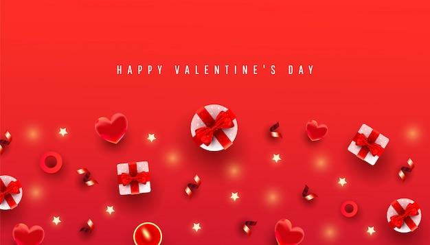 Giorno di san valentino orizzontale con bordo in confezione regalo, forma d'amore e motivo decorativo su rosso con testo di graduazione. cartolina d'auguri chic. Vettore Premium