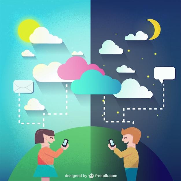 Giorno e notte chat Vettore gratuito