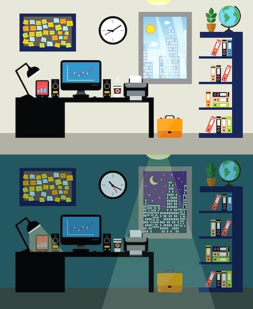 Giorno e notte del posto di lavoro dell'ufficio vuoto con il computer della tavola del lavoro e l'illustrazione di vettore dello scaffale per libri Vettore gratuito
