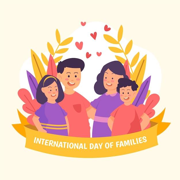 Giorno internazionale di disegno dell'illustrazione delle famiglie Vettore gratuito