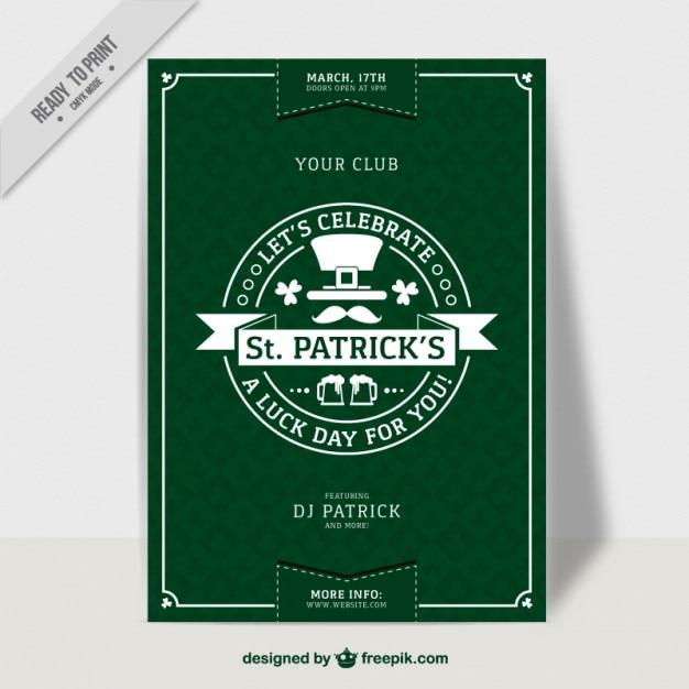 Giorno manifesto verde di san patrizio in design piatto - St patricks giorno fogli di colore giorno ...