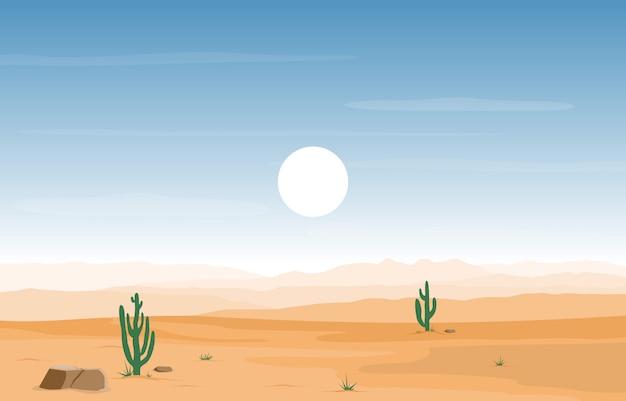 Giorno nel vasto deserto americano occidentale con l'illustrazione del paesaggio di orizzonte del cactus Vettore Premium