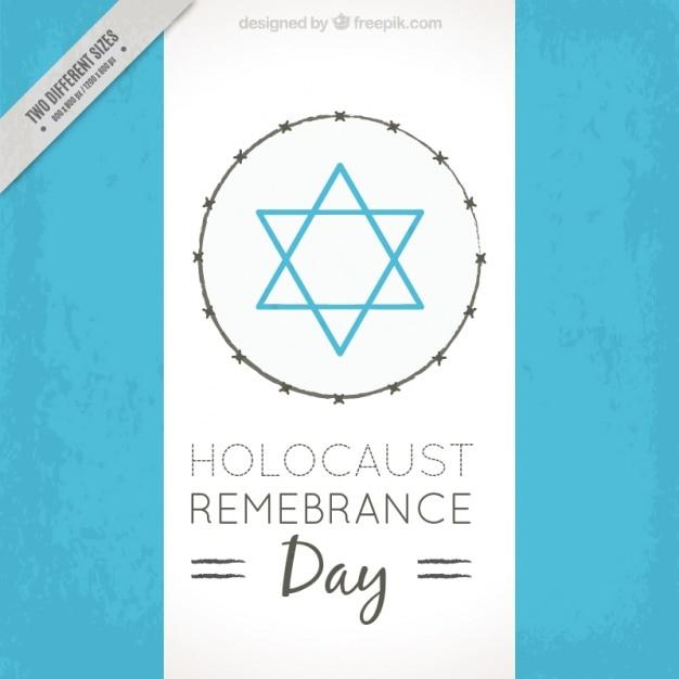 Giorno ricordo dell'olocausto, stella blu su sfondo bianco Vettore gratuito