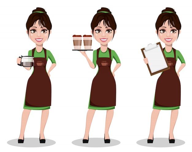 Giovane barista femminile in uniforme professionale Vettore Premium