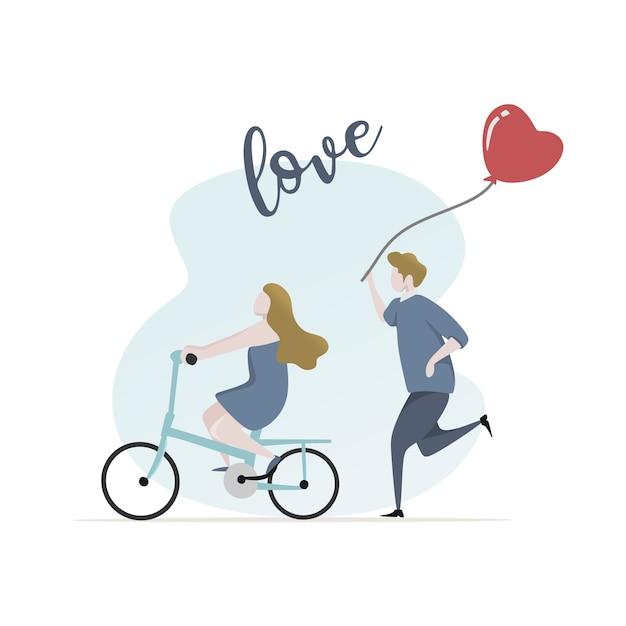 Giovane carattere delle coppie con la bandiera del testo di amore Vettore Premium