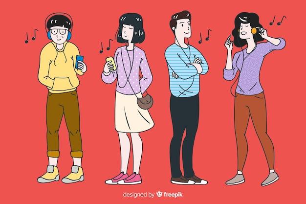 Giovane che ascolta la musica in stile di disegno coreano Vettore gratuito