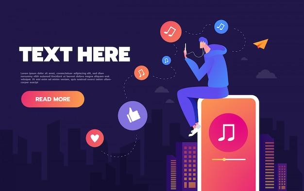Giovane che balla alla musica che gioca sul suo telefono, il concetto di ascoltare musica sui social network, concetti di landing page e web design Vettore Premium