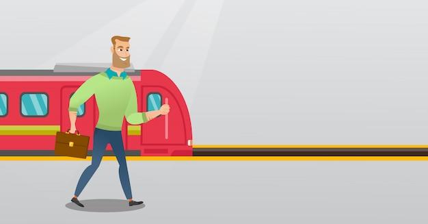 Giovane che cammina su una piattaforma della stazione ferroviaria. Vettore Premium