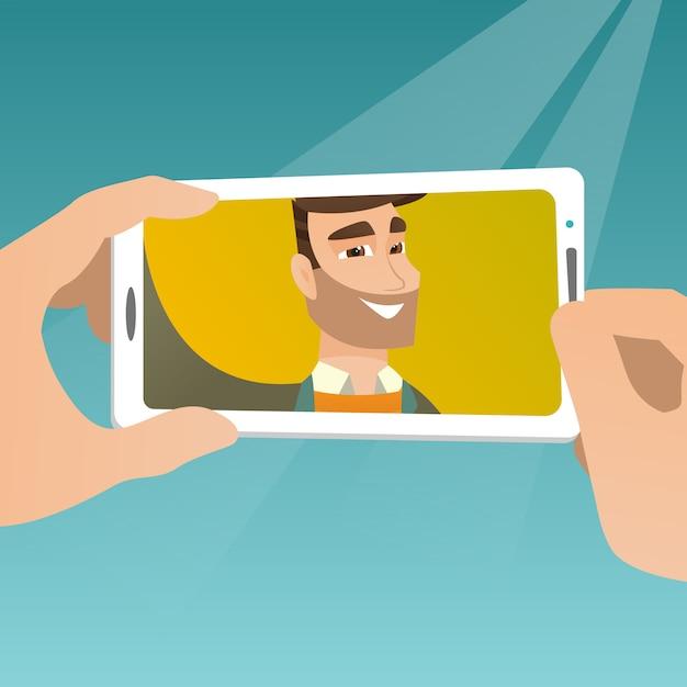 Giovane che fa l'illustrazione di vettore del selfie. Vettore Premium