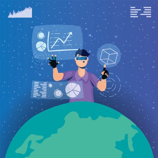 Giovane che utilizza la tecnologia virtuale di realtà nella visualizzazione interattiva Vettore Premium