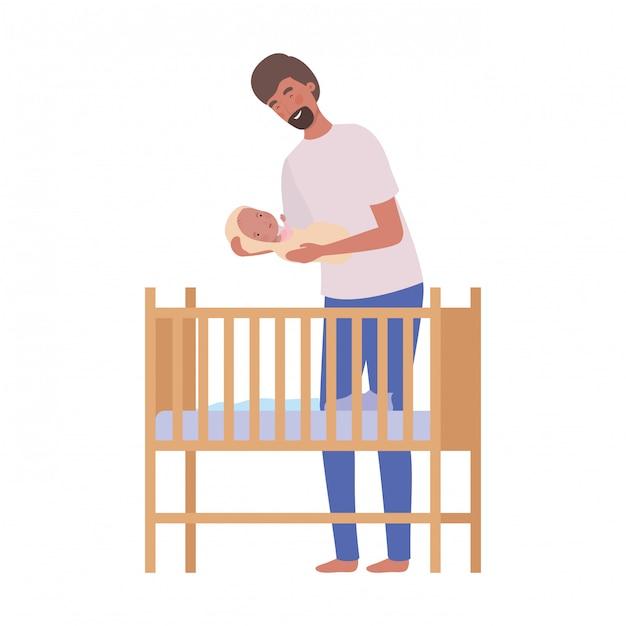 Giovane con neonato Vettore Premium