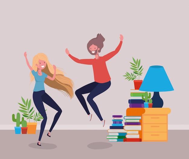 Giovane coppia che balla nel soggiorno Vettore gratuito