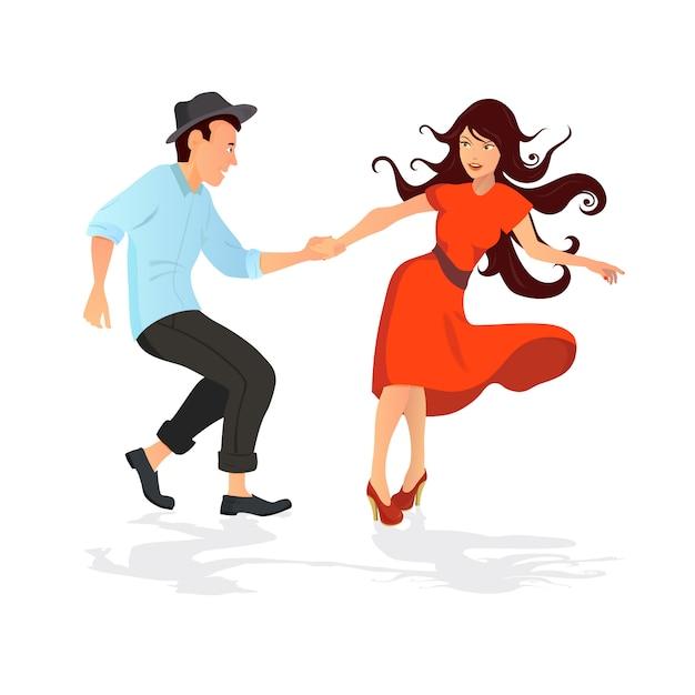 Giovane coppia che balla swing, rock o lindy hop. Vettore Premium