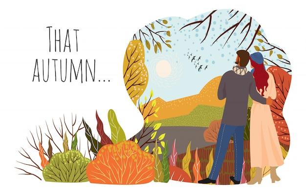 Giovane coppia in autunno paesaggio naturale colline, alberi, uccelli in volo, paesaggio naturale in uno stile carino piatto alla moda. vettore orizzontale Vettore Premium