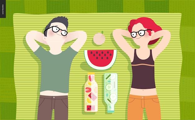 Giovane coppia picnic Vettore Premium