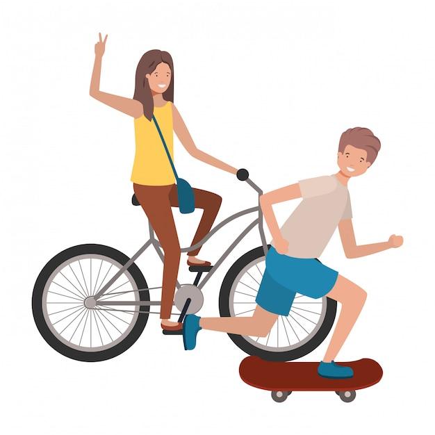 Giovane coppia praticando sport avatar personaggio Vettore Premium