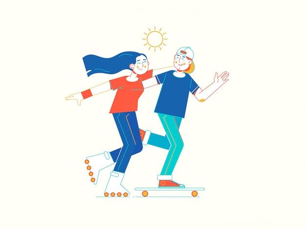 Giovane coppia rollerskating nel parco Vettore Premium