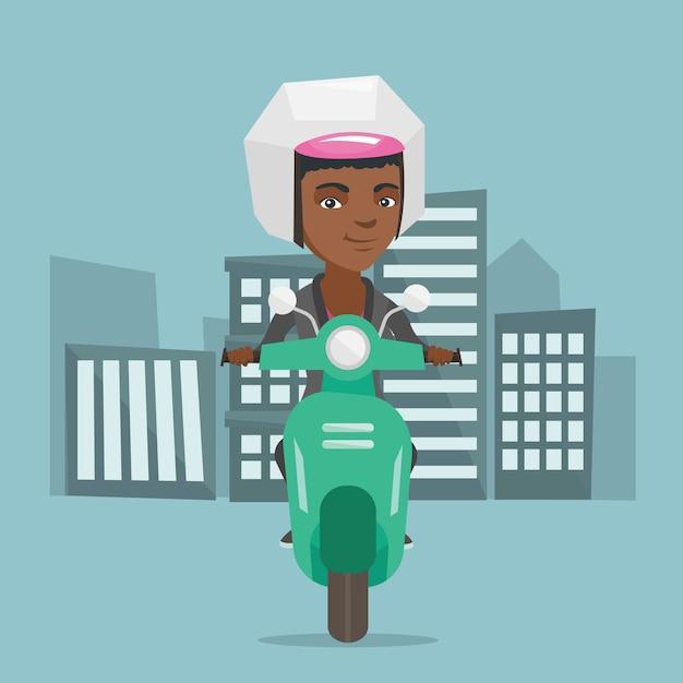 Giovane donna afro-americana in sella a uno scooter. Vettore Premium