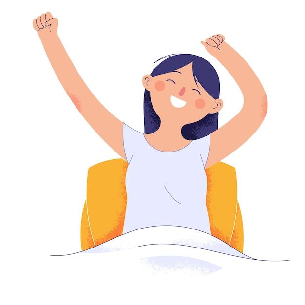 Giovane donna appena svegliata dal sonno mentre alza le mani e sorride Vettore Premium