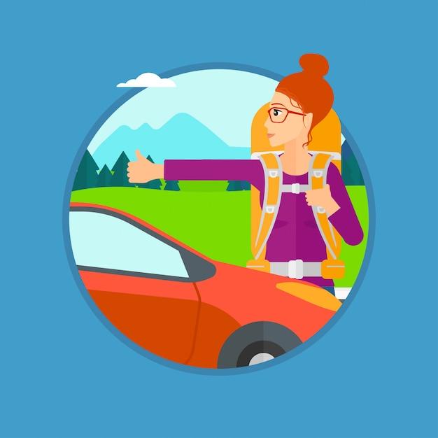 Giovane donna autostop. Vettore Premium