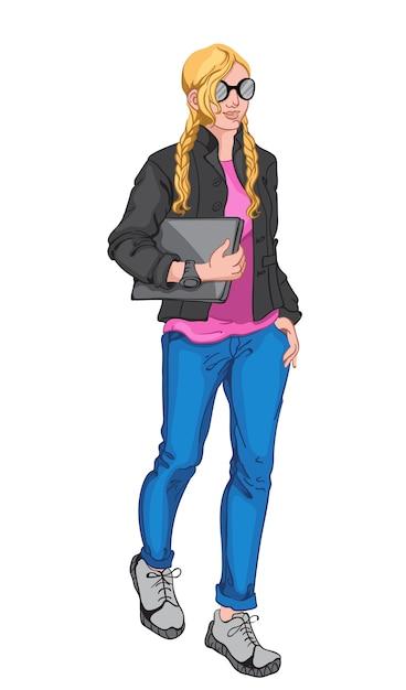Giovane donna bionda che indossa camicetta rosa, giacca nera, occhiali da sole, orologio, blue jeans, scarpe da ginnastica grigie e in possesso di un computer portatile Vettore gratuito