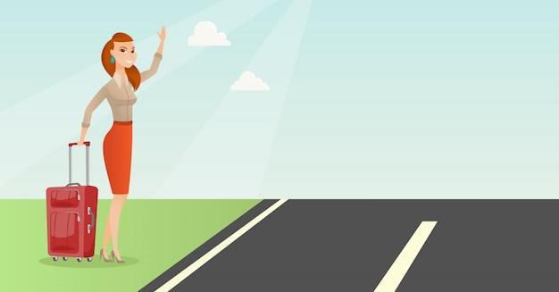 Giovane donna caucasica con valigia autostop. Vettore Premium