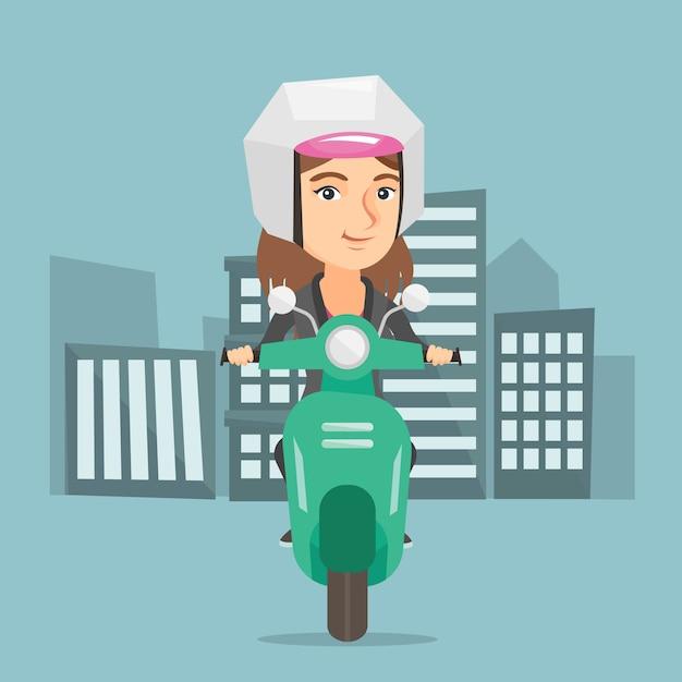 Giovane donna caucasica in sella a uno scooter. Vettore Premium