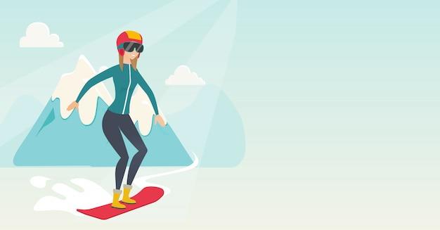 Giovane donna caucasica lo snowboard. Vettore Premium