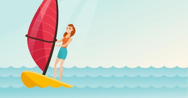 Giovane donna caucasica windsurf nel mare Vettore Premium