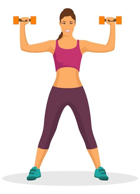 Giovane donna che fa esercitazione usando il dumbbell in ginnastica Vettore Premium