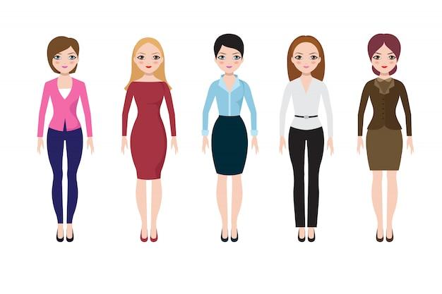 Giovane donna che indossa abiti casual europei. donne d'affari adulti in camicetta, gonna e pantaloni set vettoriale Vettore Premium