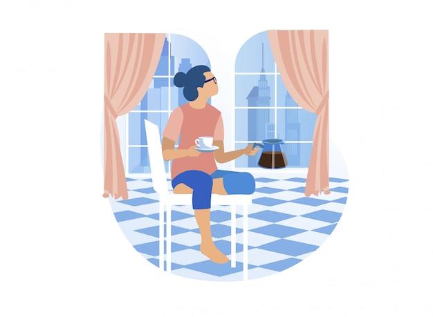 Giovane donna che sta per avere il suo caffè a casa Vettore Premium