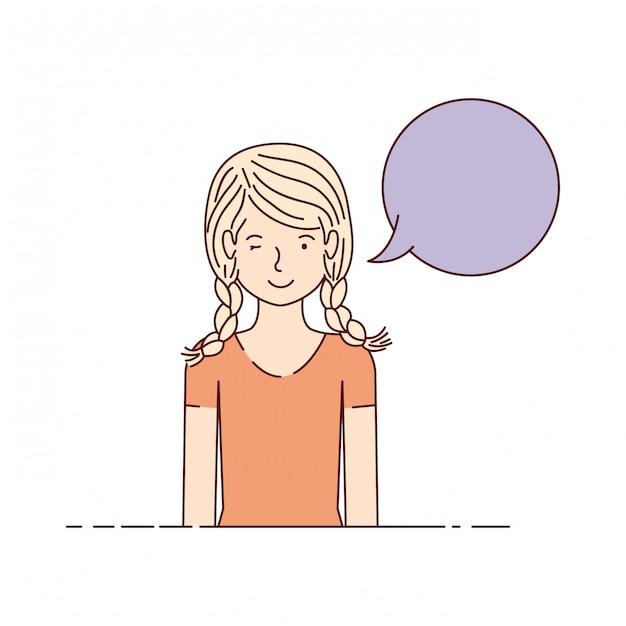 Giovane donna con carattere avatar bolla di discorso Vettore Premium